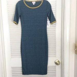 LuLaRoe Julia Dress XXS Blue Knee Pencil Skirt